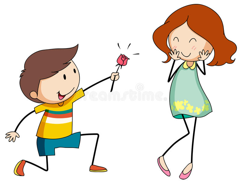 Boy giving flower to girlfriend. Illustration stock illustration