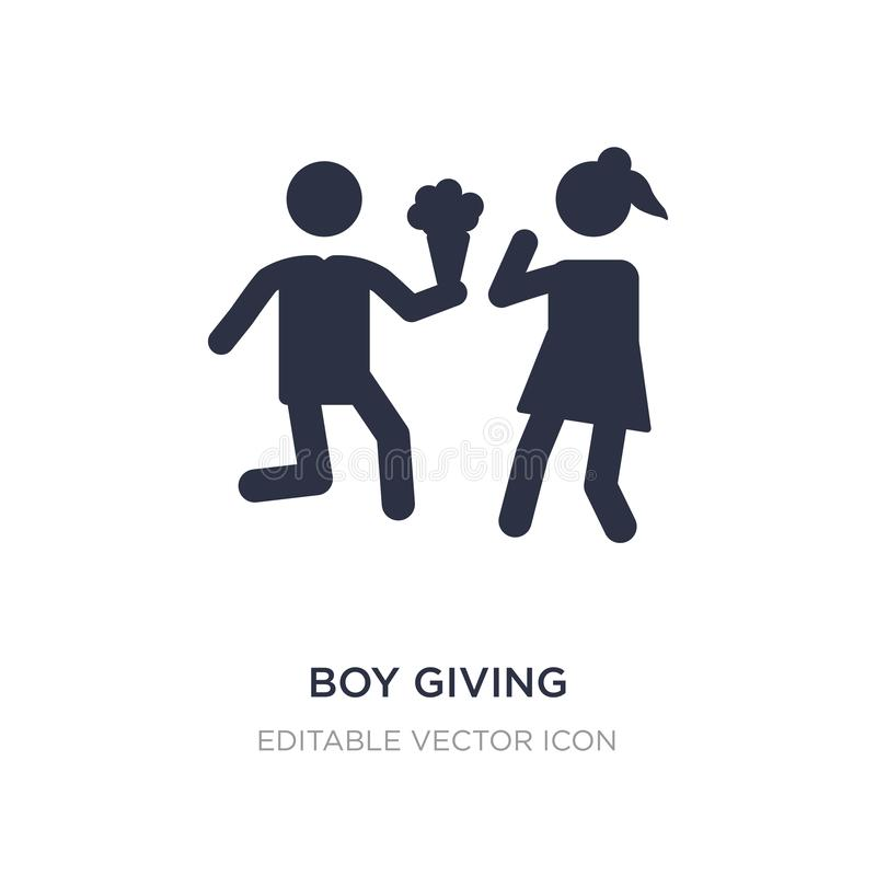 Boy giving flowers to his girlfriend icon on white background. Simple element illustration from People concept. Boy giving flowers to his girlfriend icon royalty free illustration