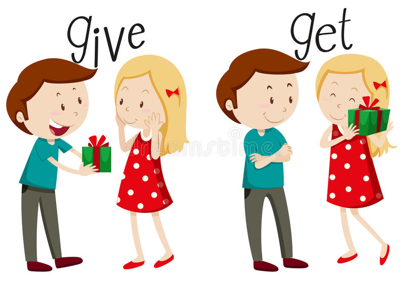 Boy giving and girl getting royalty free illustration
