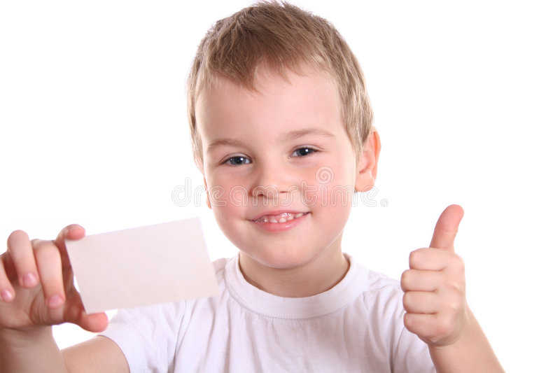 Boy giving OK with card for text stock images