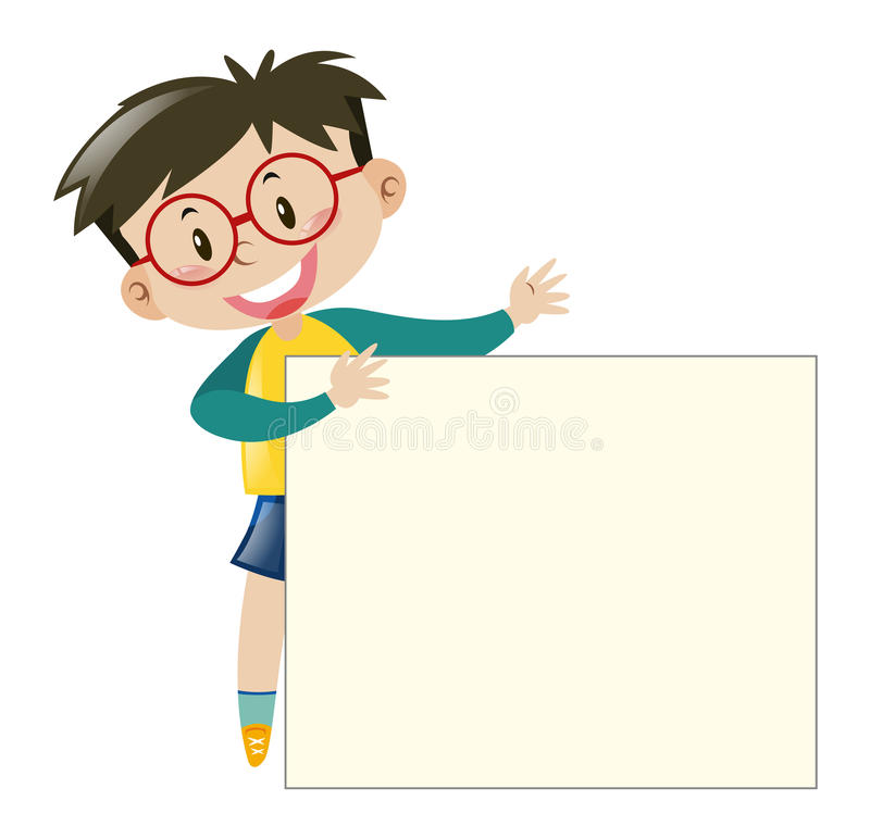 Boy with glasses holding paper stock illustration