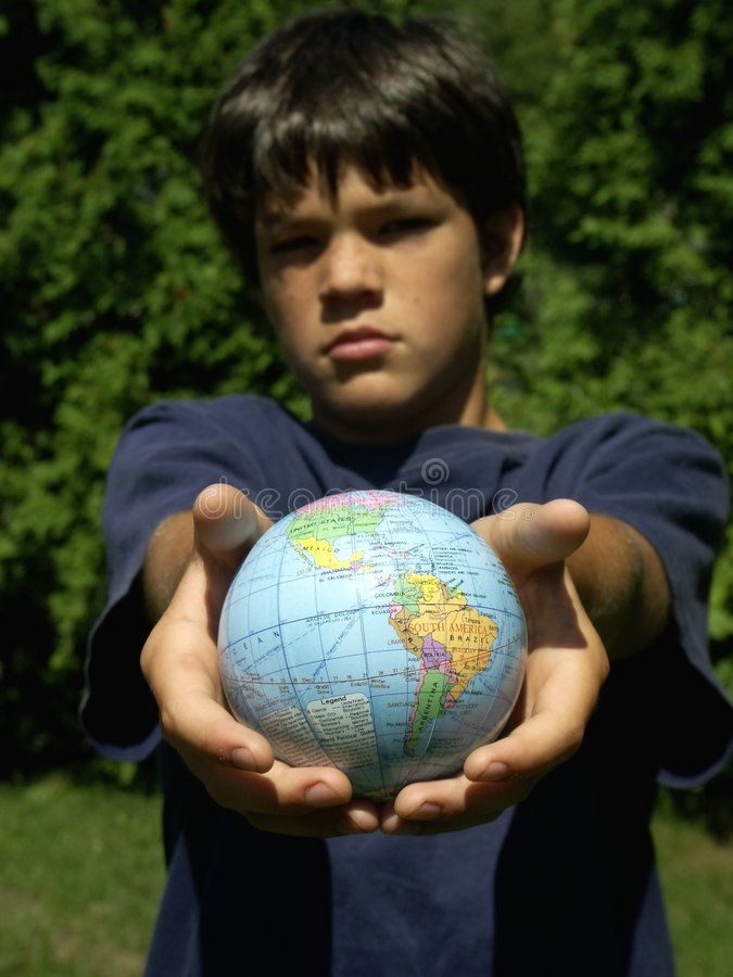 Download Boy and globe #2 stock photo. Image of atmosphere, continents - 204524
