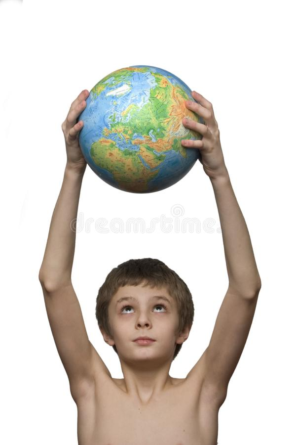 Boy and globe stock images