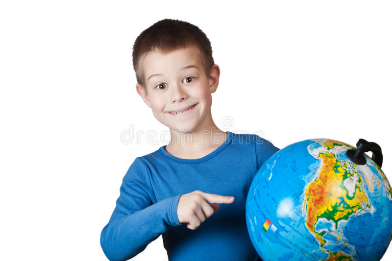 Download Boy with a globe stock photo. Image of planet, recreation - 23875004