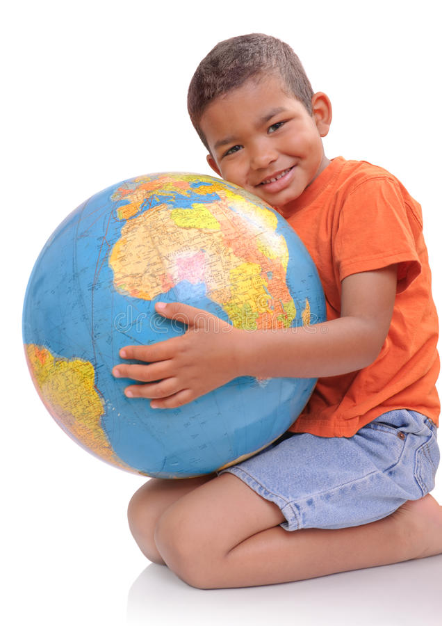 Boy with a globe stock image