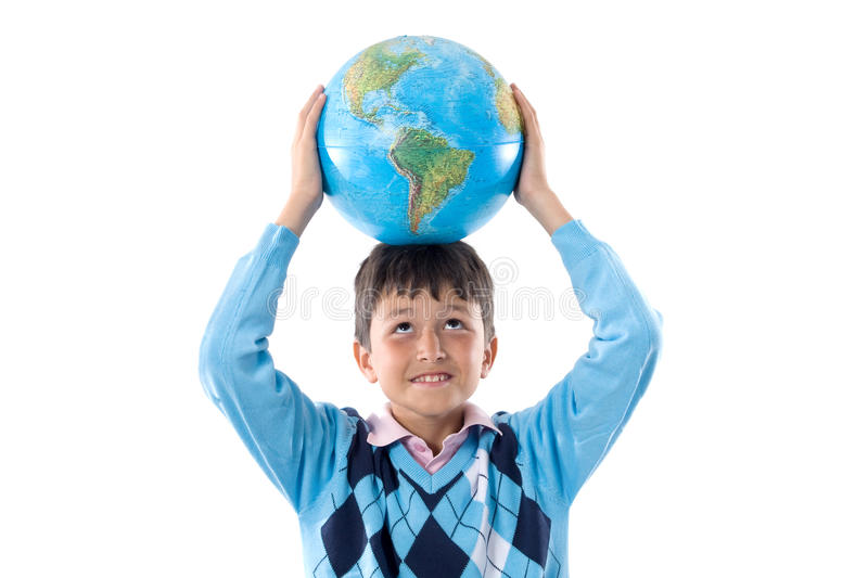 Boy with a globe of the world. On the head isolated over white royalty free stock photography