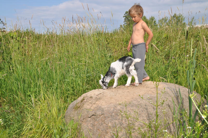 The boy and a goat on a boulder stock photo