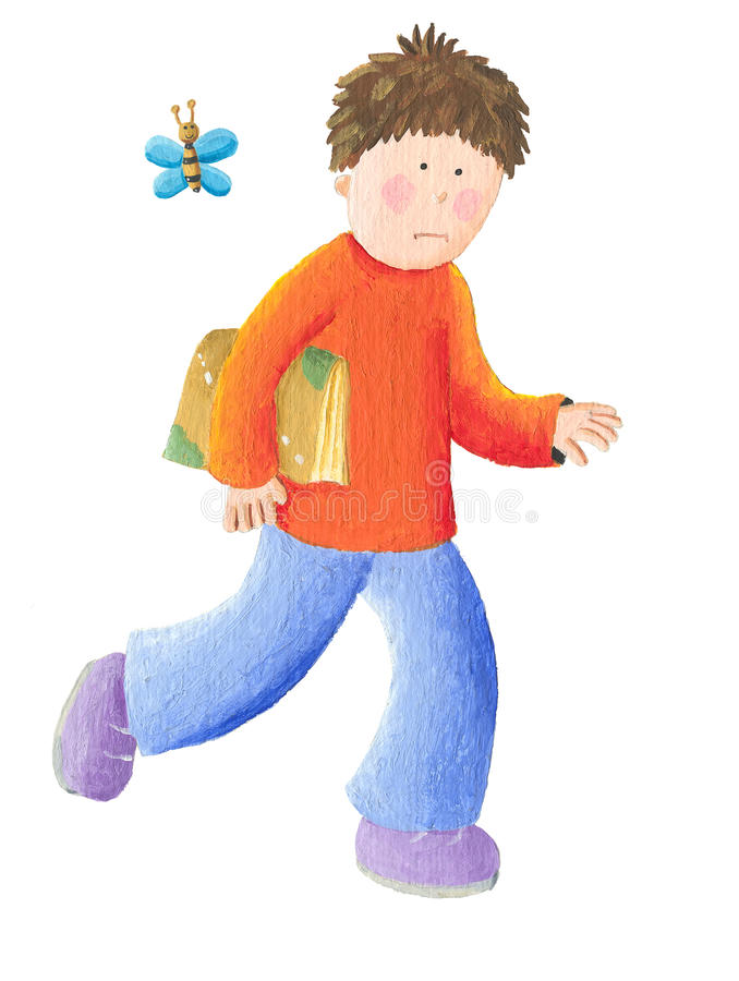 Download Boy goes to school stock illustration. Image of home - 28498467