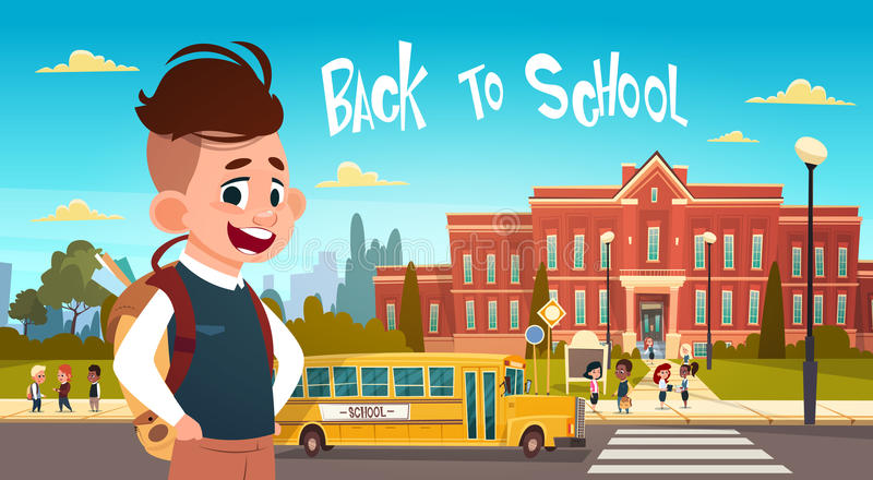 Boy Going Back To School Over Group Of Pupils Walking From Yellow Bus Primary Schoolchildren Students. Flat Vector Illustration royalty free illustration