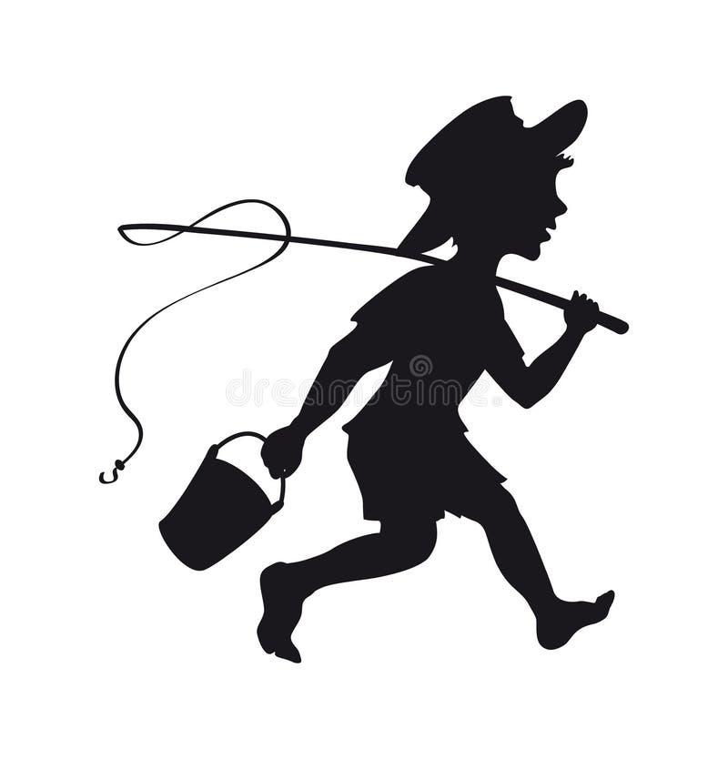 Free Boy Going Fishing Silhouette Stock Image - 189408811