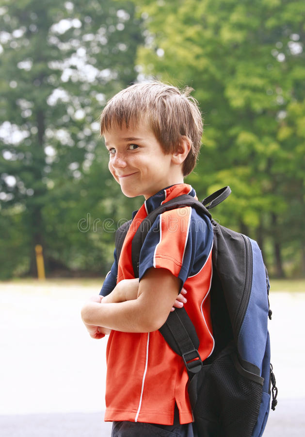 Download Boy Going to School stock image. Image of walking, funny - 10726413