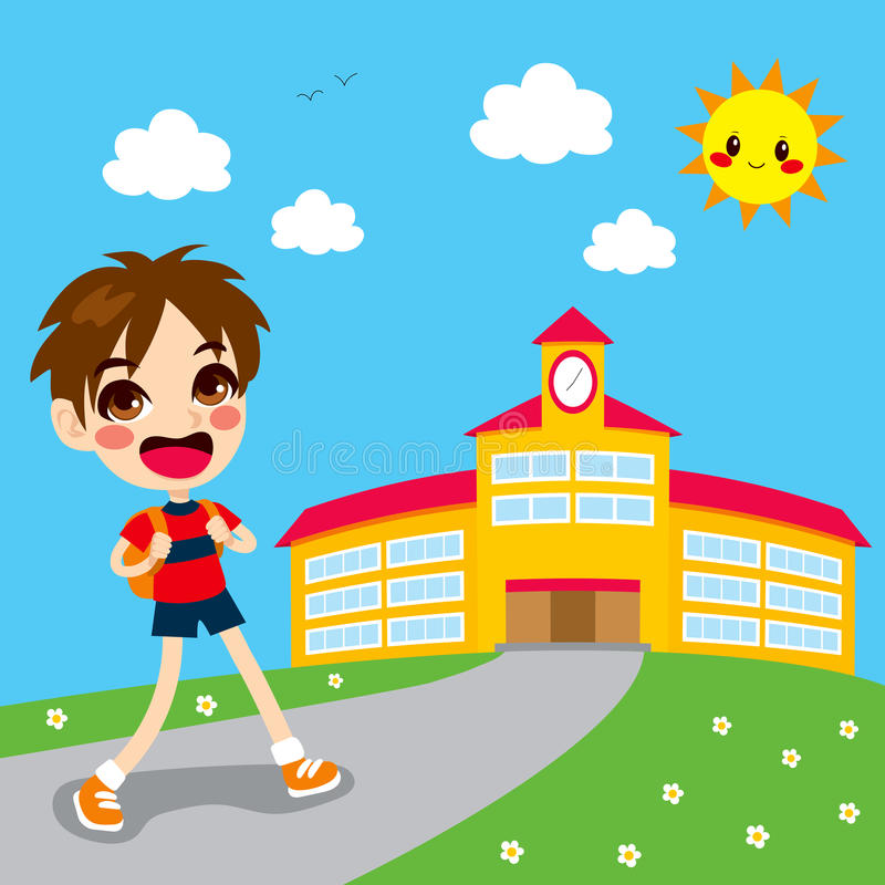 Boy Going To School royalty free illustration