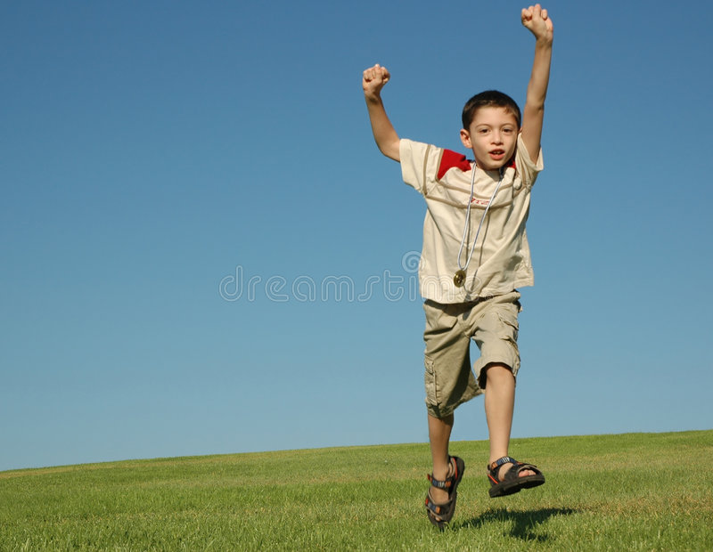 Boy with gold medal royalty free stock photos