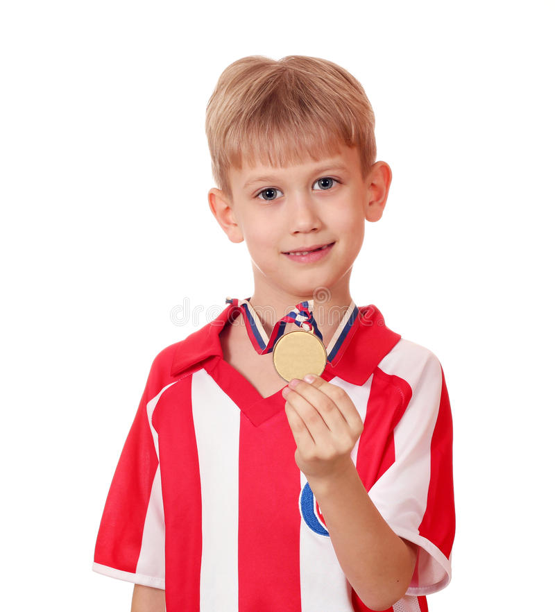 Download Boy with gold medal stock image. Image of young, expression - 24204429