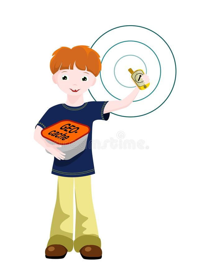 Download Boy with GPS and geocache stock vector. Illustration of find - 24101106