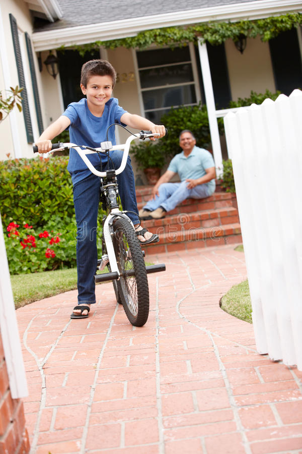 Download Boy And Grandfather With Bike Stock Photo - Image: 21157072