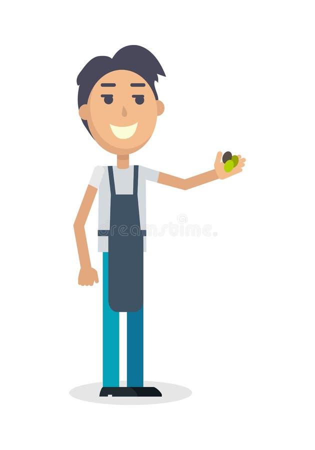 Boy with Grapes . Winemaker Gather Harvest. Boy with grapes on white. Winemaker gather the harvest. Man propose grapes. Viticulture. Wine degustation. Winemaking stock illustration