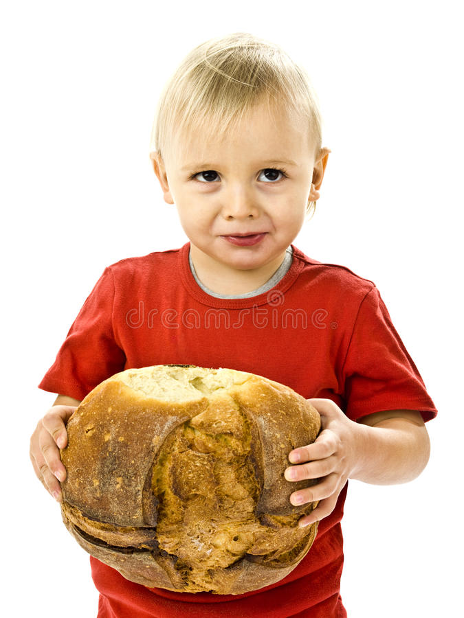 Boy with great bread. Funny boy with great bread stock photo
