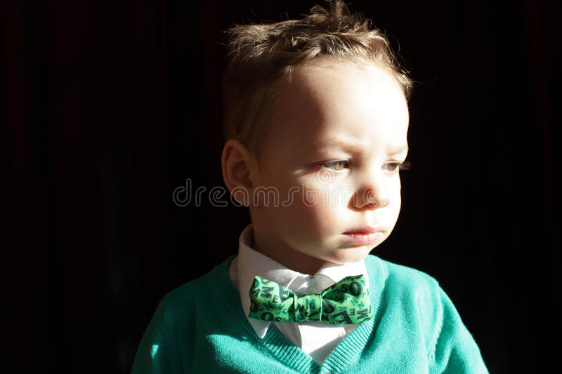 Boy in green cardigan and white shirt royalty free stock photography