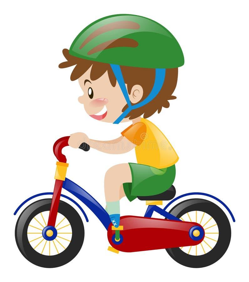 Boy with green helmet riding bike. Illustration royalty free illustration