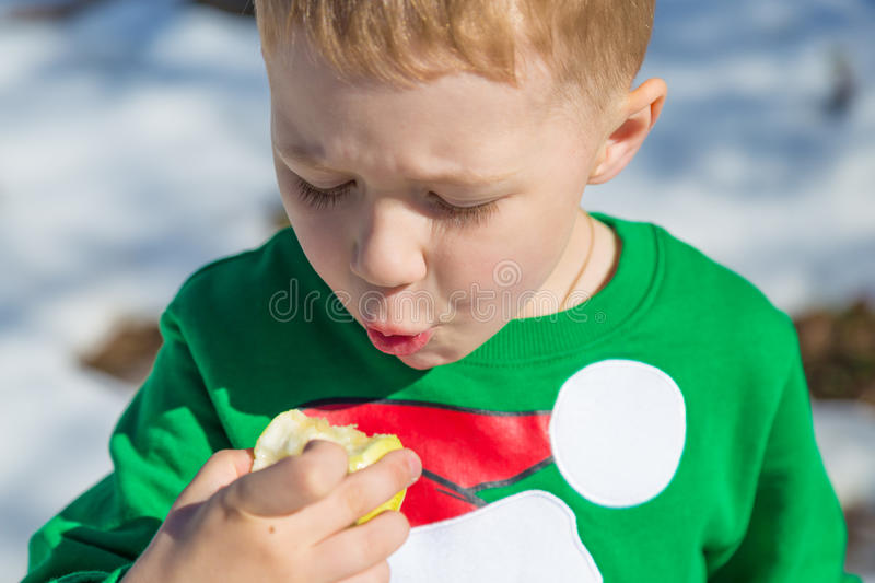 Boy in green jacket eating an apple on nature in winter royalty free stock photos