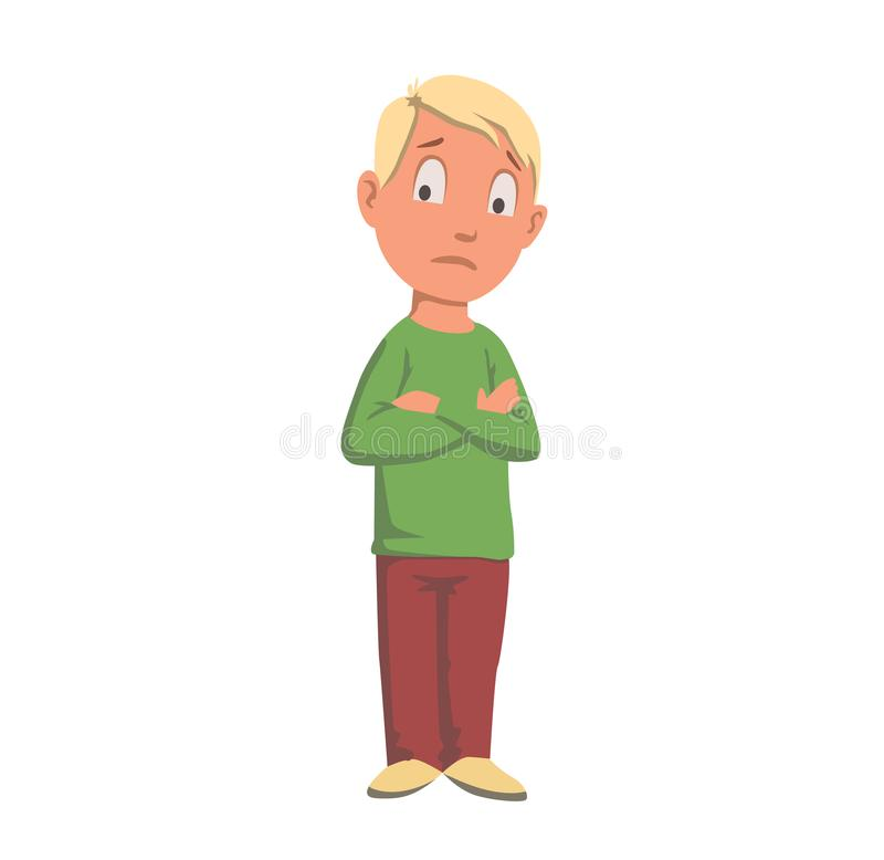 Boy in green looking confused, teenager character hand crossed. Flat vector illustration. Isolated on white background. stock illustration