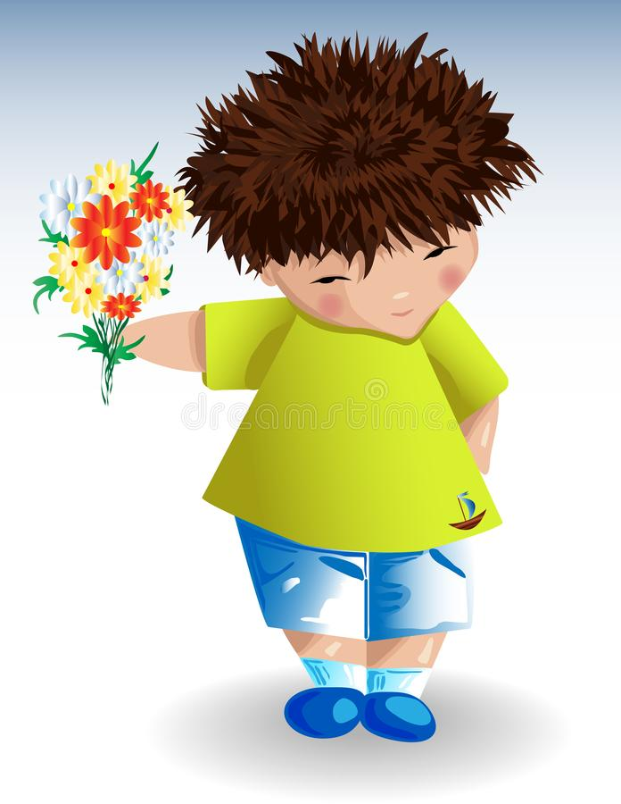 A boy,a green T-shirt with a painted anchor blue shorts with a bouquet of flowers in his hand. A boy in a green T-shirt with a painted anchor, blue shorts on a stock illustration
