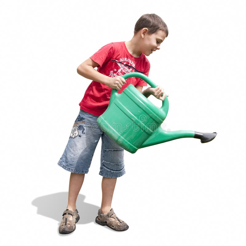 Download Boy and green watering-can stock image. Image of shirt - 15123791
