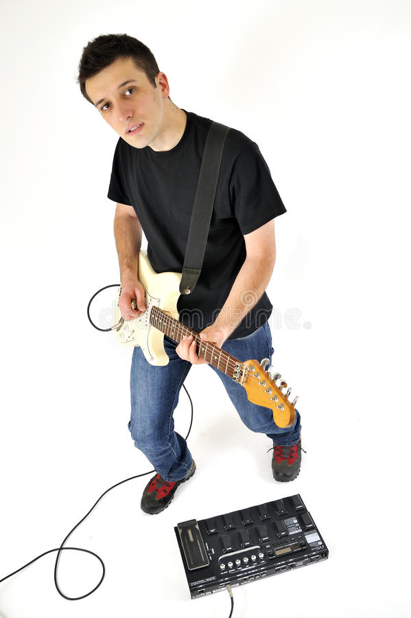 Download Boy with guitar and an amp stock image. Image of musical - 17069901