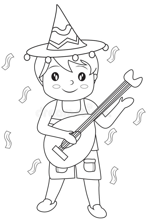 Boy With A Guitar Coloring Page Stock Illustration - Illustration of ...