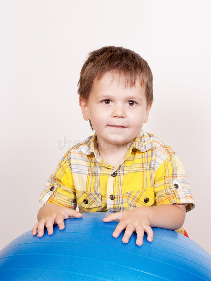 Download Boy With Gymnastic Ball On White Stock Image - Image: 21287967