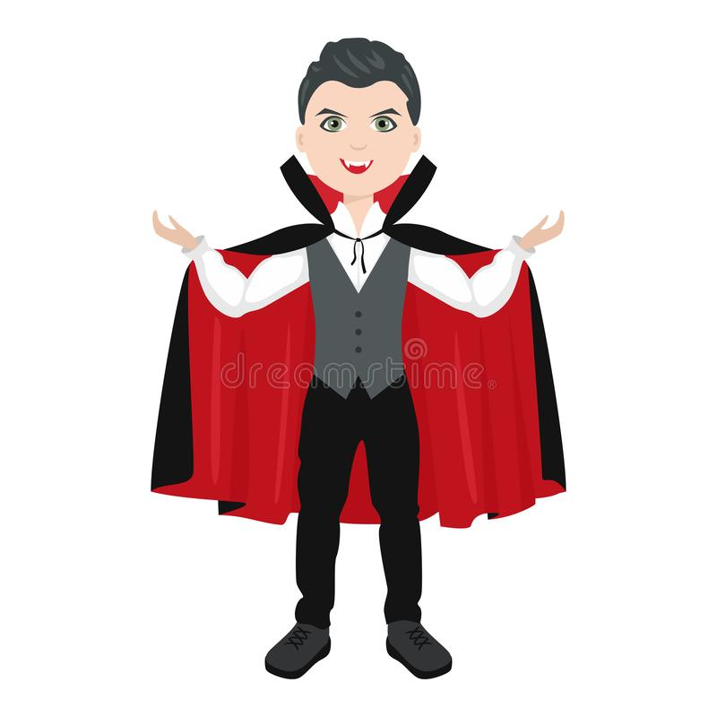 Boy in Halloween Dracula costume Isolated on white background. Vector illustration of kid in vampire  suit royalty free illustration