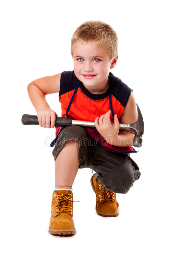 Download Boy with hammer stock image. Image of tool, sitting, carpenter - 10677863