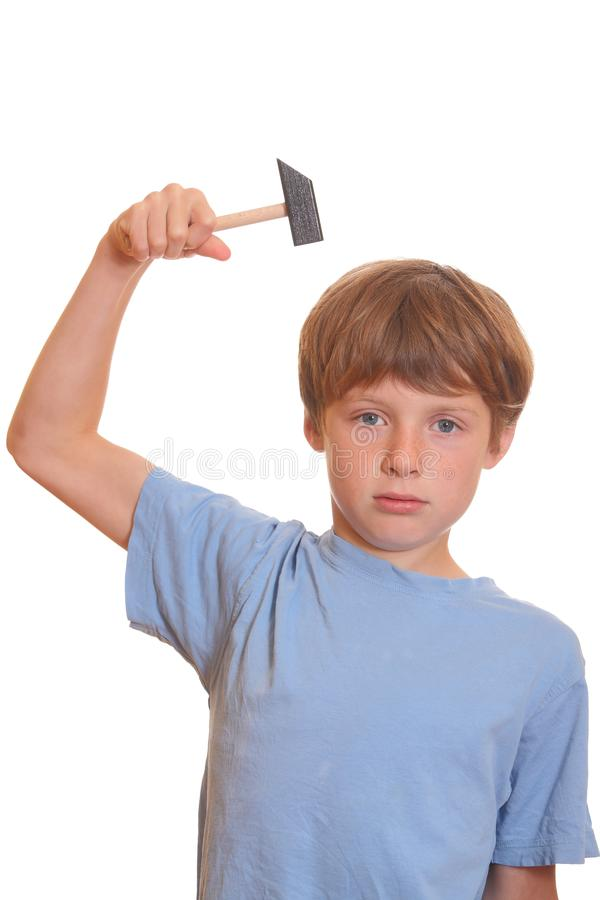 Boy with hammer royalty free stock photo