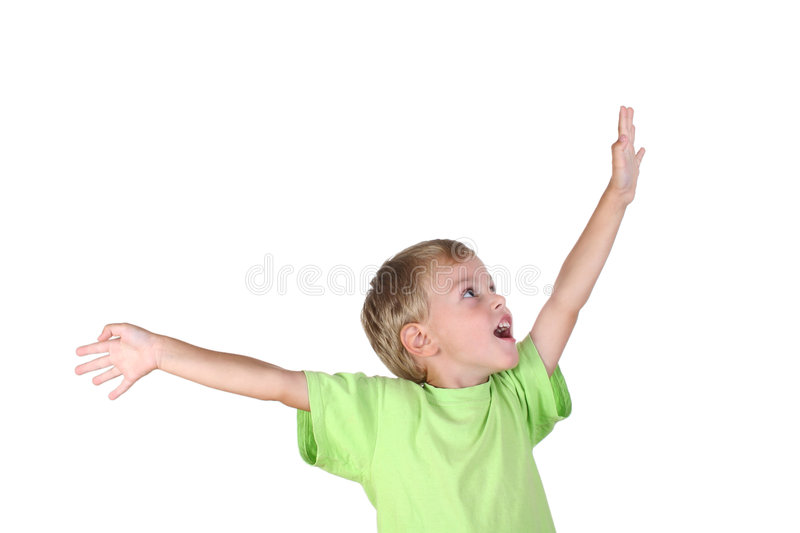 Boy with hand to success stock photography