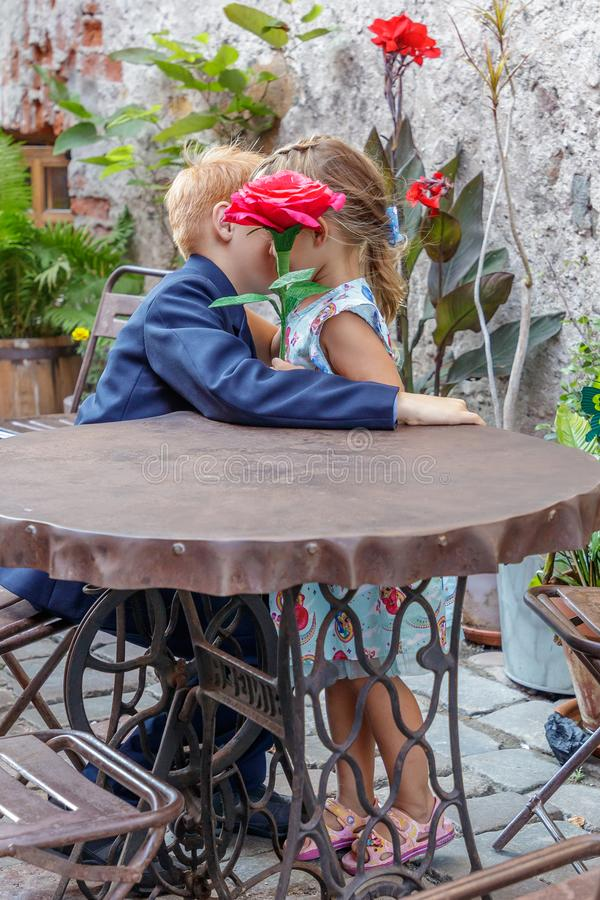 Boy gives girl a red flower royalty free stock photography