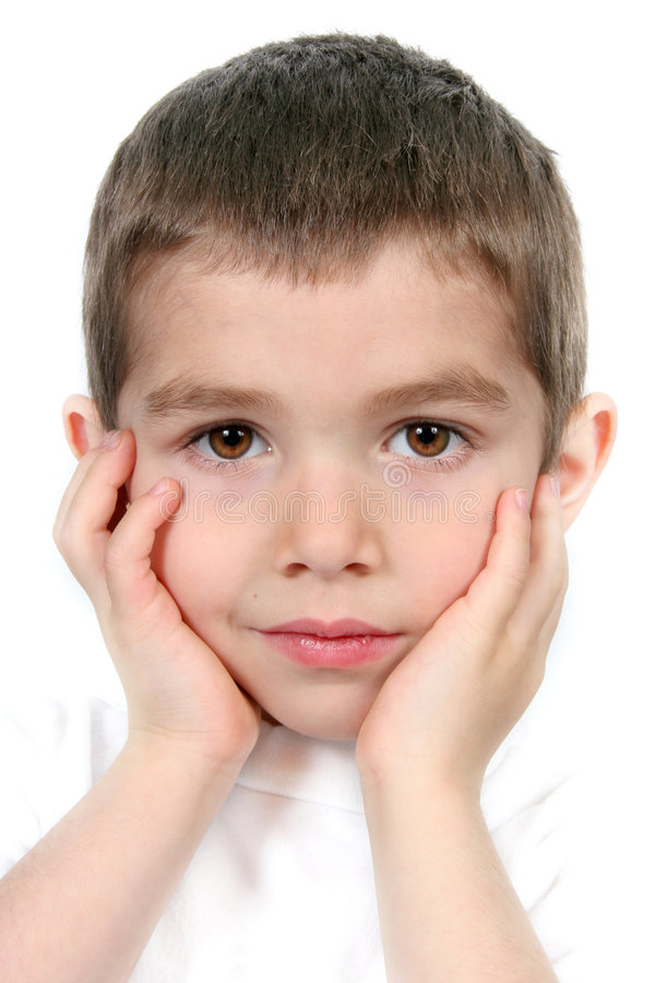 Boy with Hands to Face royalty free stock images