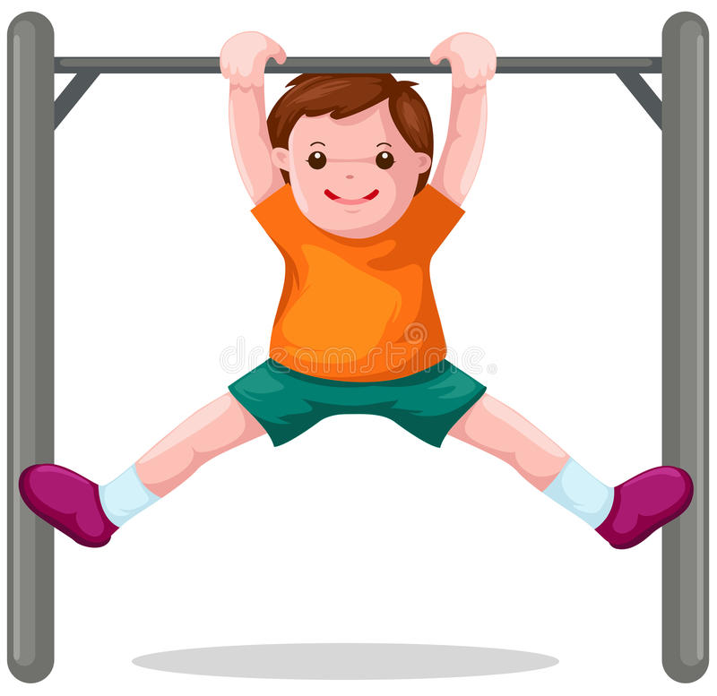Download Boy Hangs On  A Horizontal Bar Stock Vector - Image: 14203682