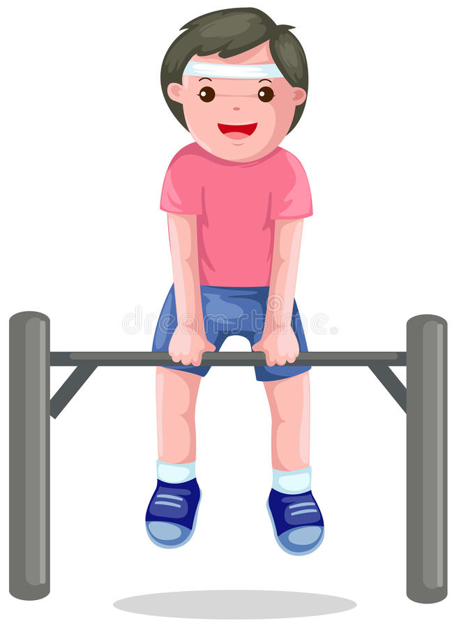 Download Boy Hangs On A Horizontal Bar Stock Vector - Illustration of enjoyment, park: 14203685
