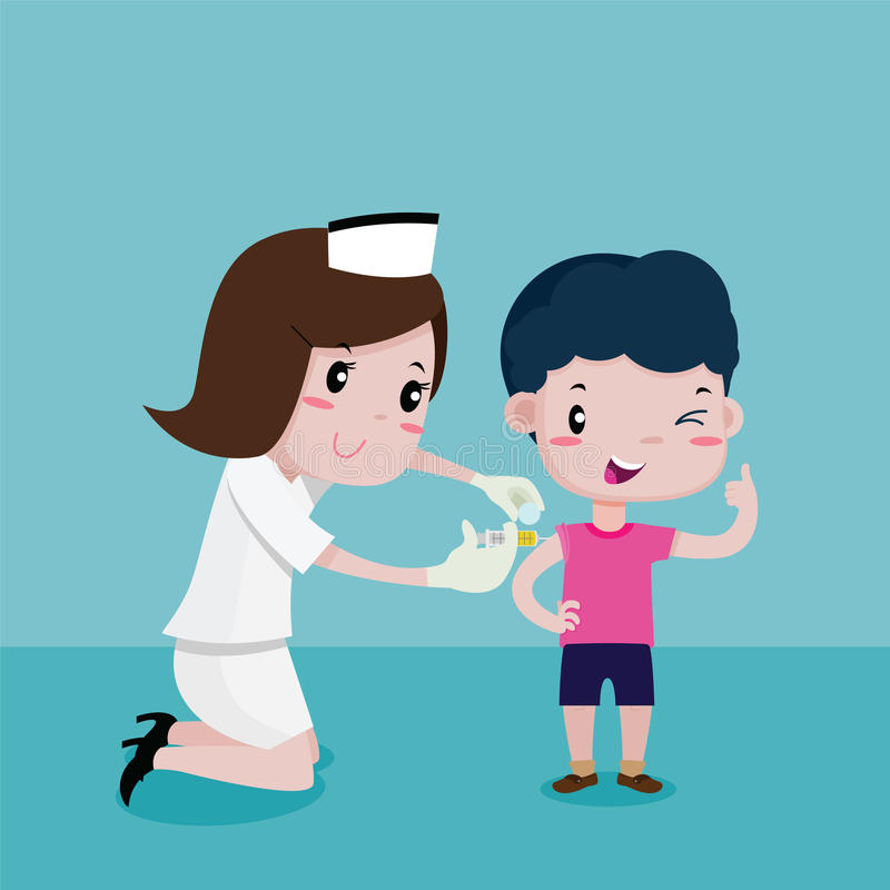 Boy Happy While the nurses was injecting royalty free illustration
