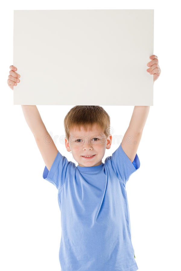 Boy has control over the poster stock image