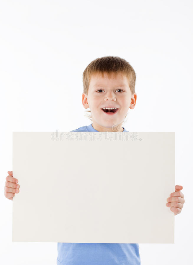Boy has control over the poster royalty free stock images