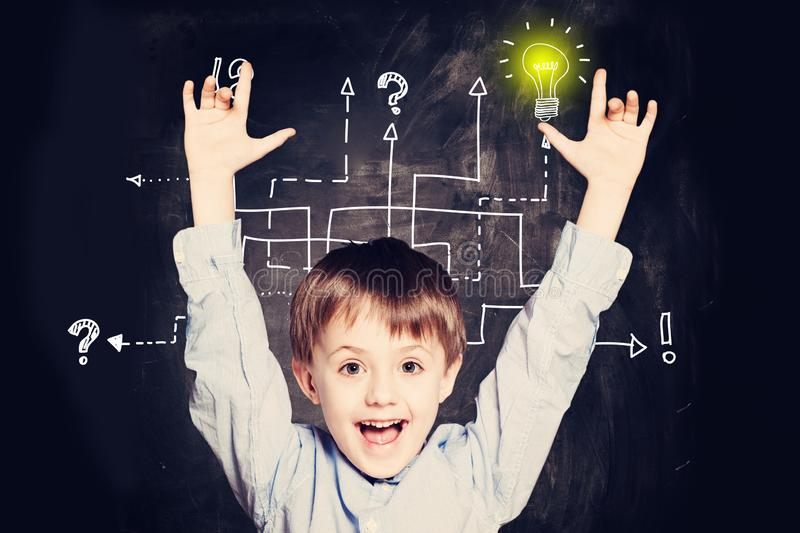Boy has an idea. Concept with question signs and light idea bulb royalty free stock photos