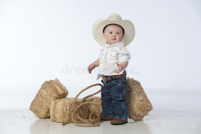 Download Boy with hat stock photo. Image of happy, jeans, bale - 9380570
