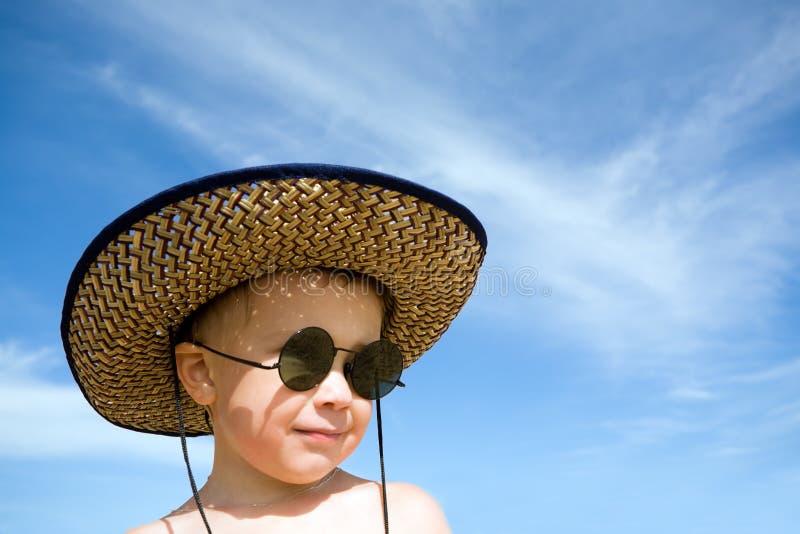 Boy.hat.sunglasses royalty-vrije stock fotografie