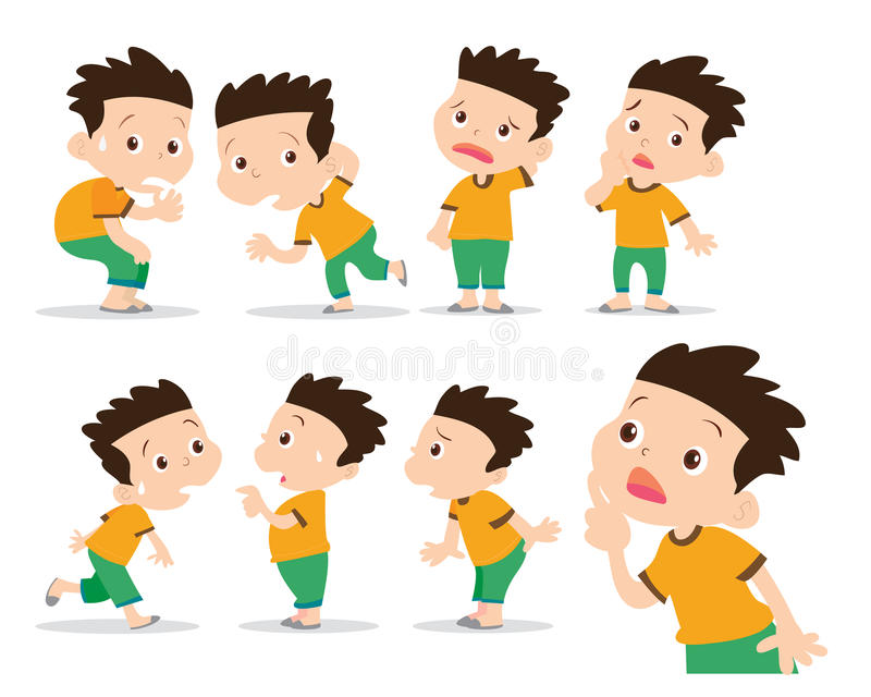Boy have wonder and confused actions stock illustration