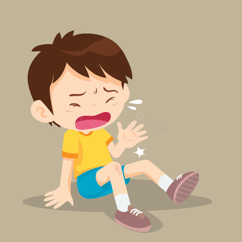 Boy having bruises on his leg. Child hurt his knee on the pavement. abrasion vector illustration