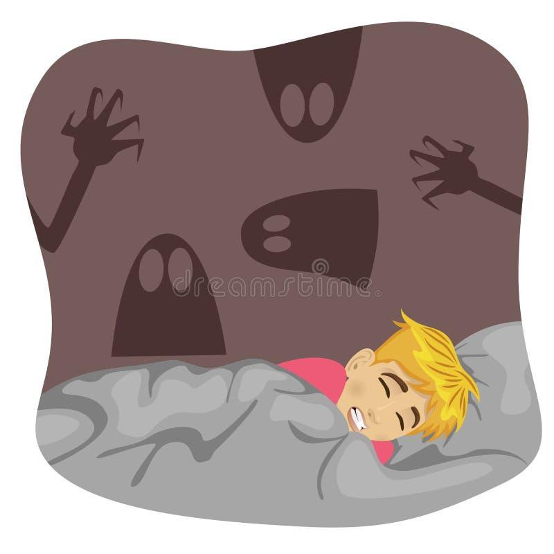 Boy having a scary dream royalty free illustration