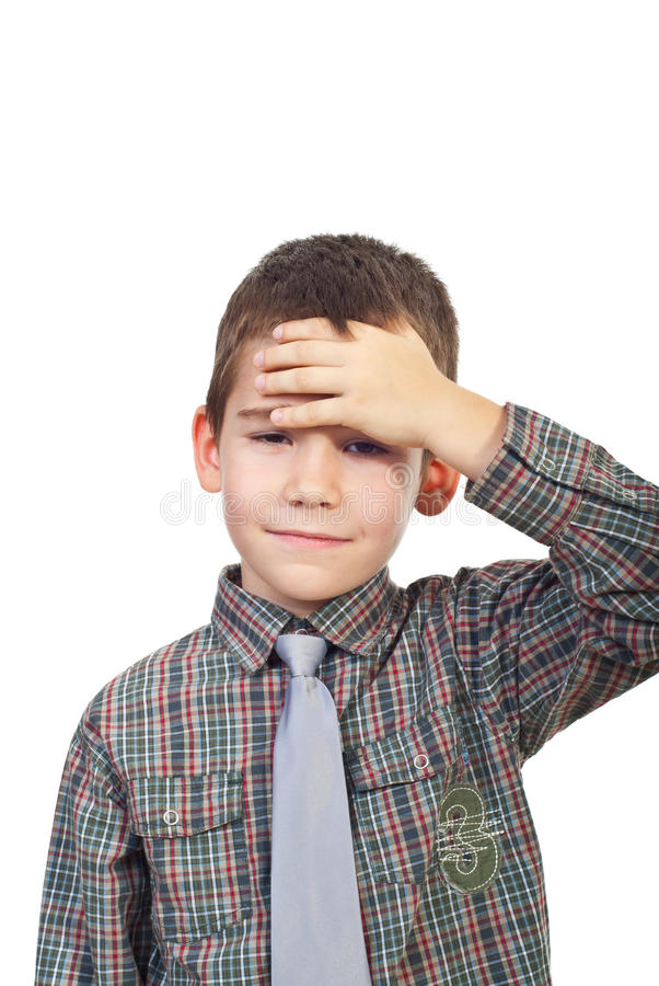 Boy with head ache royalty free stock image