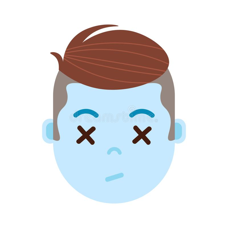 Boy head emoji with facial emotions, avatar character, man dead face with different male emotions concept. flat design. stock illustration